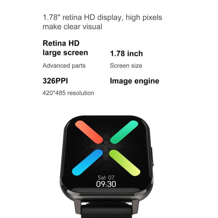 Ceas inteligent (smartwatch) Optimus AT DTX ecran cu touch 1.78 inch color HD, ECG, Sp02, puls, moduri sport, notificari, silicon black [3]