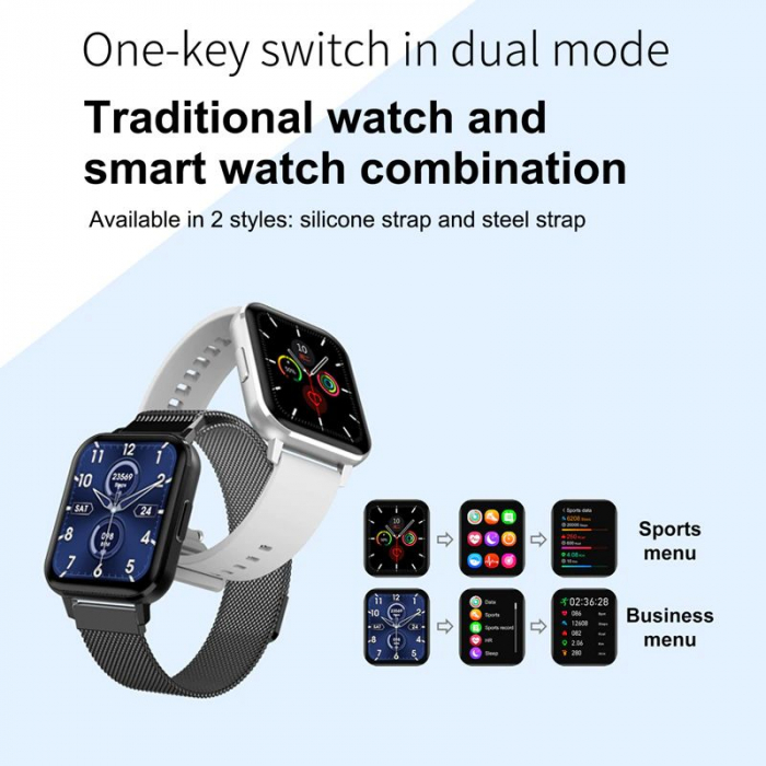 Ceas inteligent (smartwatch) Optimus AT DTX ecran cu touch 1.78 inch color HD, ECG, Sp02, puls, moduri sport, notificari, silicon grey [3]