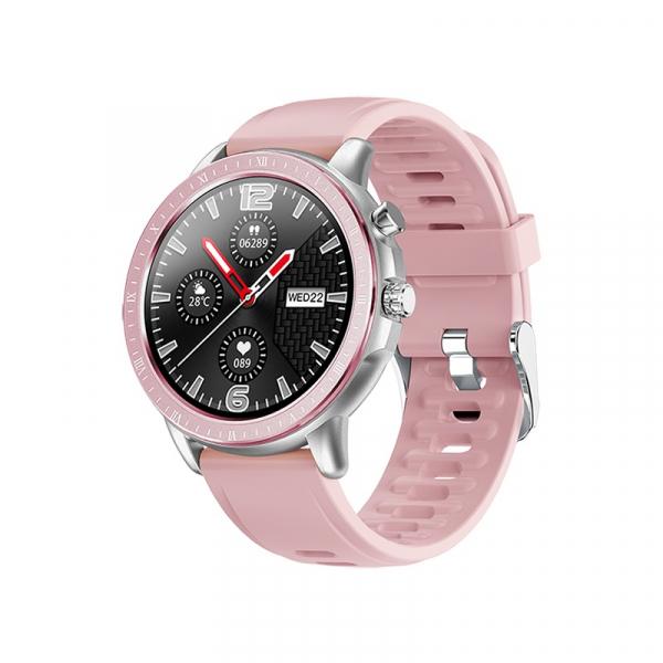 Ceas inteligent (smartwatch) Optimus AT S02 ecran cu touch 1.3 inch color HD, moduri sport, pedometru, puls, notificari, pink/silver [0]