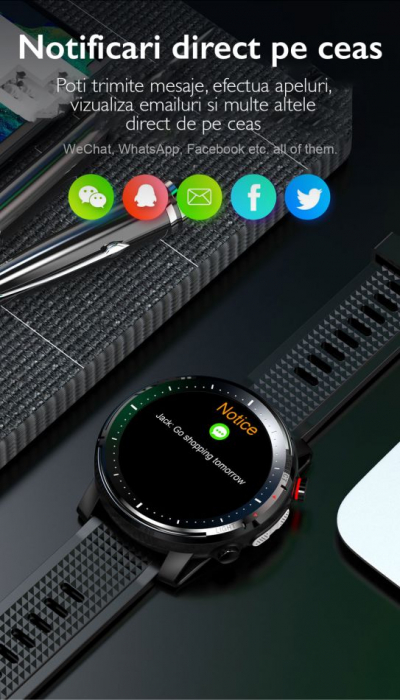 Ceas inteligent (smartwatch) sport Optimus AT L15 ecran cu touch 1.3 inch color HD, Sp02, puls, 10 moduri sport, notificari, black [10]