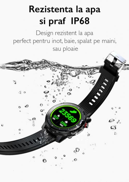 Ceas inteligent (smartwatch) sport Optimus AT L15 ecran cu touch 1.3 inch color HD, Sp02, puls, 10 moduri sport, notificari, black [8]