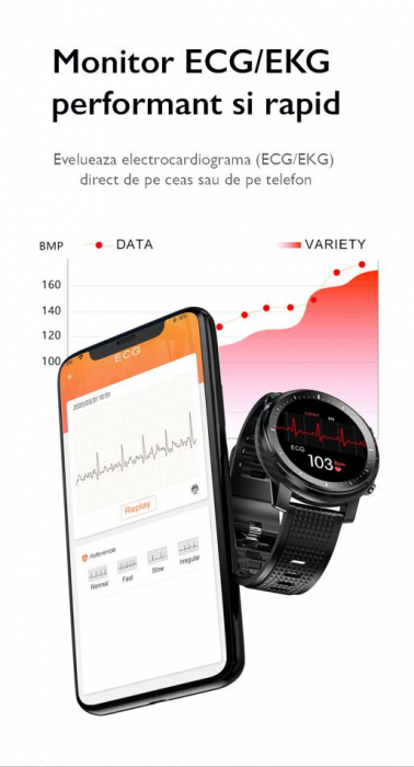 Ceas inteligent (smartwatch) sport Optimus AT L15 ecran cu touch 1.3 inch color HD, Sp02, puls, 10 moduri sport, notificari, black [9]