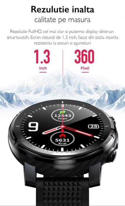 Ceas inteligent (smartwatch) sport Optimus AT L15 ecran cu touch 1.3 inch color HD, Sp02, puls, 10 moduri sport, notificari, black [6]