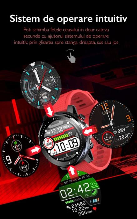 Ceas inteligent (smartwatch) sport Optimus AT L15 ecran cu touch 1.3 inch color HD, Sp02, puls, 10 moduri sport, notificari, red [5]
