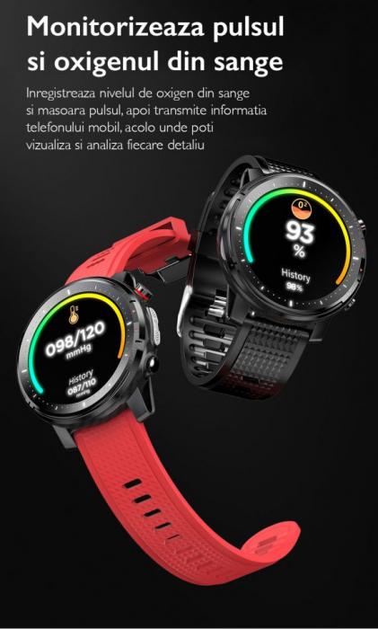 Ceas inteligent (smartwatch) sport Optimus AT L15 ecran cu touch 1.3 inch color HD, Sp02, puls, 10 moduri sport, notificari, red [6]
