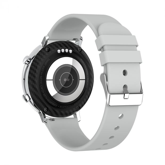 Ceas inteligent (smartwatch) SW07 cu apelare, difuzor si microfon incorporat, IP68, ecran cu touch 1.28 inch color, moduri sport, pedometru, puls, ECG, notificari, gri [3]