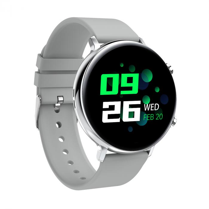 Ceas inteligent (smartwatch) SW07 cu apelare, difuzor si microfon incorporat, IP68, ecran cu touch 1.28 inch color, moduri sport, pedometru, puls, ECG, notificari, gri [2]