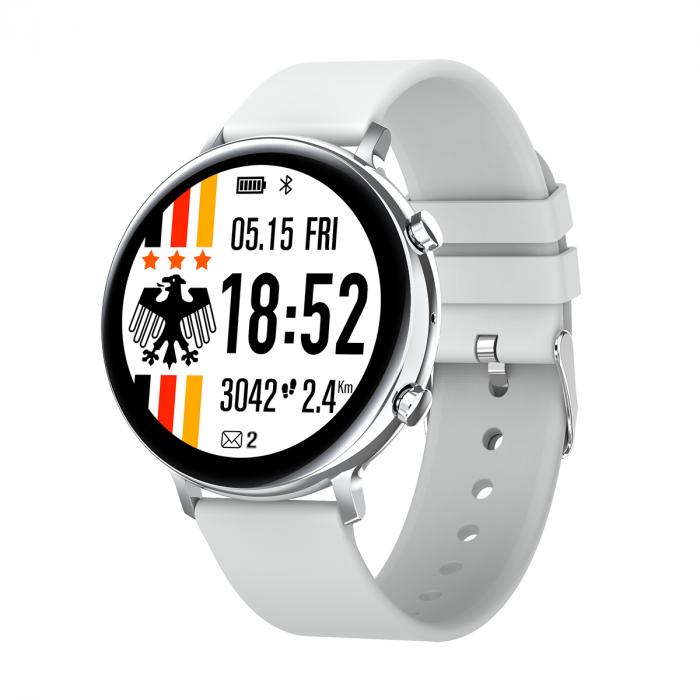 Ceas inteligent (smartwatch) SW07 cu apelare, difuzor si microfon incorporat, IP68, ecran cu touch 1.28 inch color, moduri sport, pedometru, puls, ECG, notificari, gri [0]