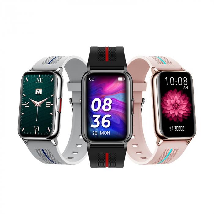 Ceas inteligent (smartwatch) H76, IP68, ecran curbat de 1.57 inch, moduri sport, pedometru, puls, notificari, roz [3]