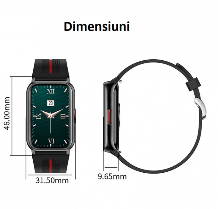 Ceas inteligent (smartwatch) H76, IP68, ecran curbat de 1.57 inch, moduri sport, pedometru, puls, notificari, negru [2]