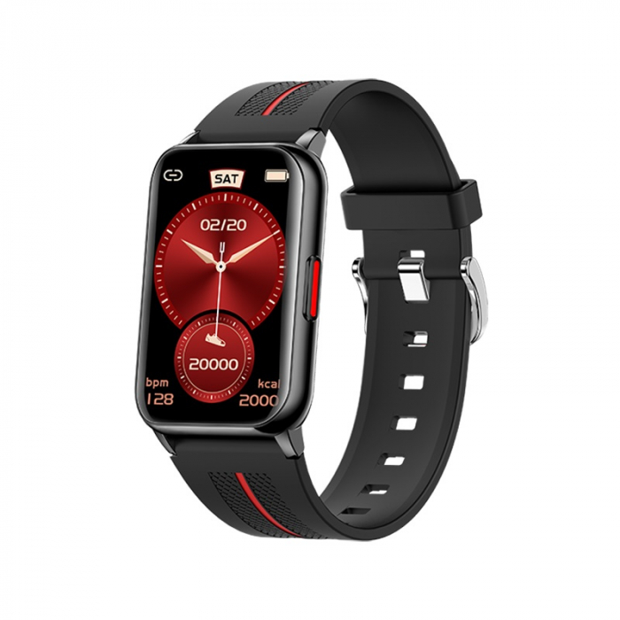 Ceas inteligent (smartwatch) H76, IP68, ecran curbat de 1.57 inch, moduri sport, pedometru, puls, notificari, negru [1]