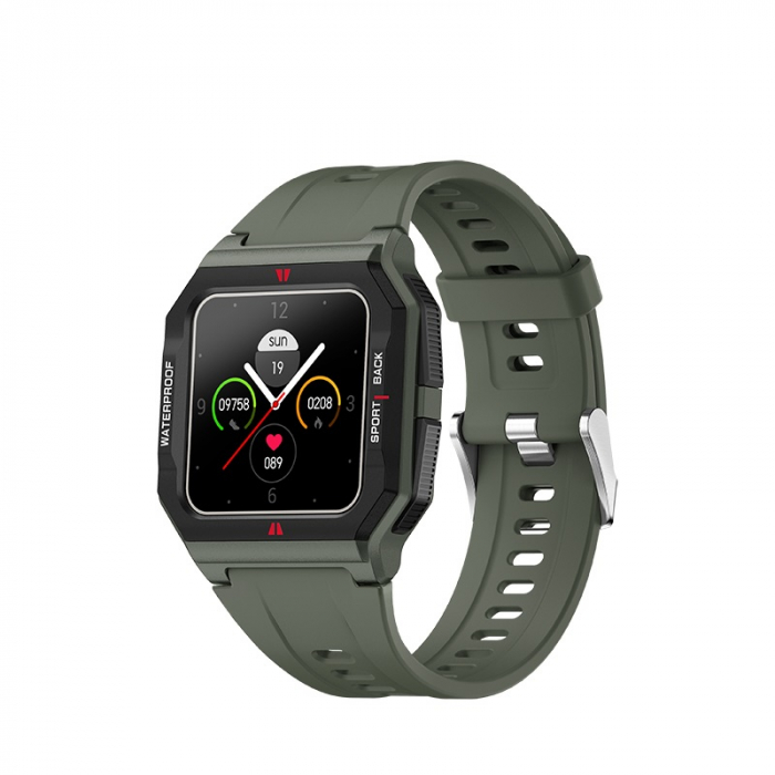 Ceas inteligent sport (smartwatch) FT10, rezistent la apa IP68, ecran 1.3 inch, functii multiple, verde army [0]