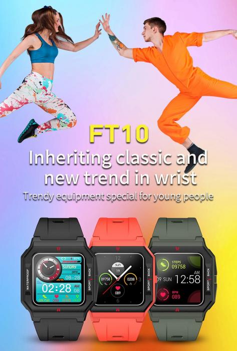 Ceas inteligent sport (smartwatch) FT10, rezistent la apa IP68, ecran 1.3 inch, functii multiple, rosu [2]