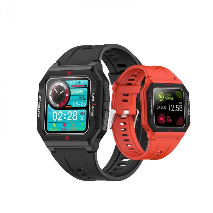 Ceas inteligent sport (smartwatch) FT10, rezistent la apa IP68, ecran 1.3 inch, functii multiple, rosu [1]