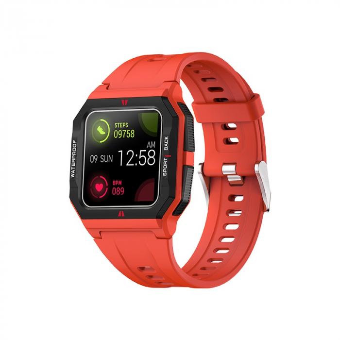 Ceas inteligent sport (smartwatch) FT10, rezistent la apa IP68, ecran 1.3 inch, functii multiple, rosu [0]