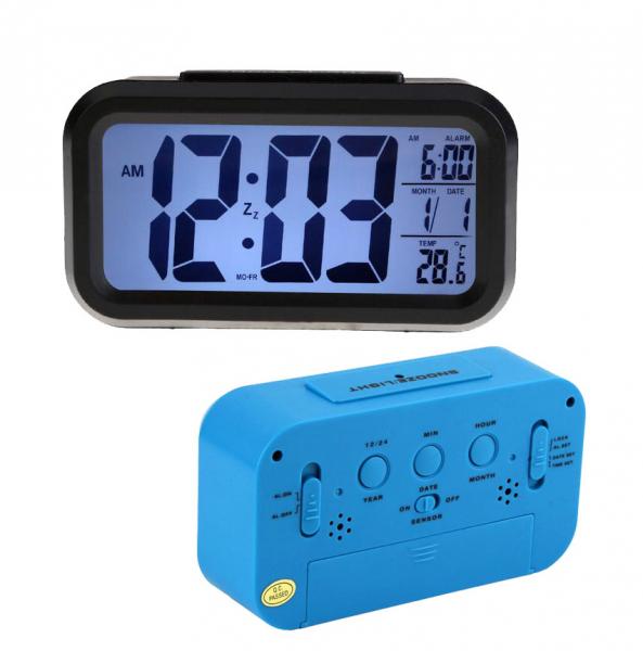 Ceas multifunctional cu cifre mari, Optimus AT 3143 termometru, alarma, snooze, baterii / priza, albastru [2]