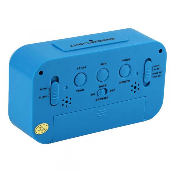 Ceas multifunctional cu cifre mari, Optimus AT 3143 termometru, alarma, snooze, baterii / priza, albastru [1]