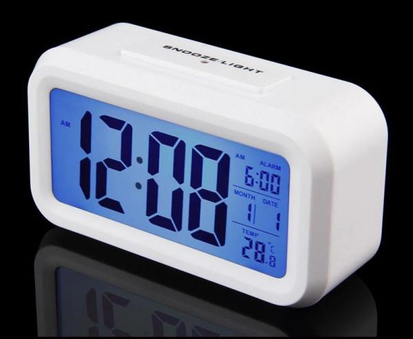 Ceas multifunctional cu cifre mari, Optimus AT 3143 termometru, alarma, snooze, baterii / priza, alb [0]