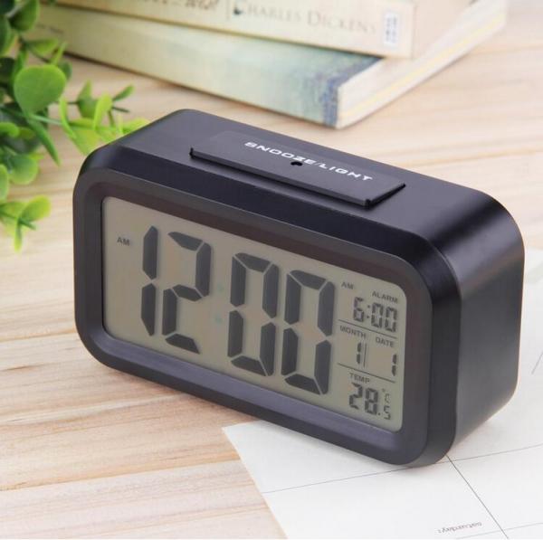 Ceas multifunctional cu cifre mari, Optimus AT 3143 termometru, alarma, snooze, baterii , negru [0]