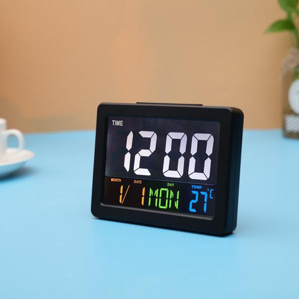 Ceas multifunctional cu cifre mari, Optimus AT G2000 termometru, alarma, snooze, baterii / priza, negru [0]