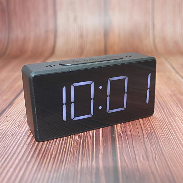 Ceas multifunctional cu design minimalist, model 8039 termometru, alarma, snooze, baterii / priza, negru [0]