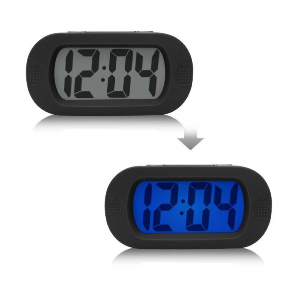 Ceas multifunctional cu design modern, model 1002 cu alarma, snooze, baterii, negru [0]