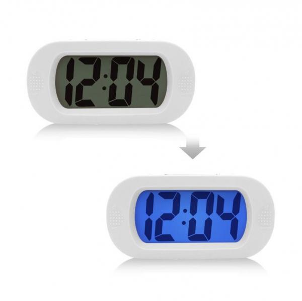 Ceas multifunctional cu design modern, model 1002 cu alarma, snooze, baterii, alb [0]