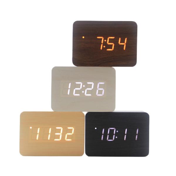 Ceas din lemn cu termometru, alarma, baterii / priza, cifre albastre, alb [2]