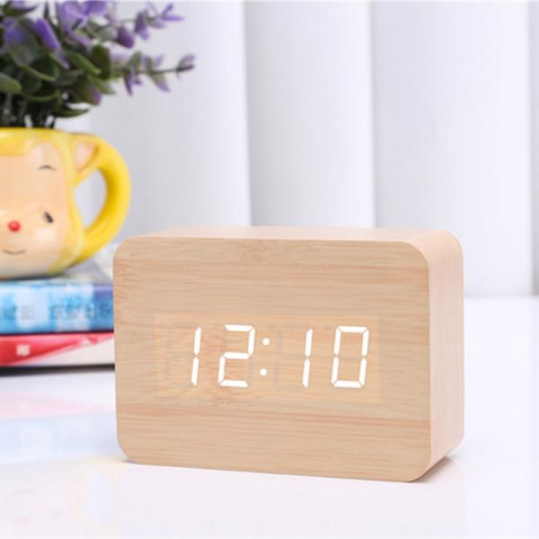 Ceas din lemn cu termometru, alarma, baterii / priza, natur [0]