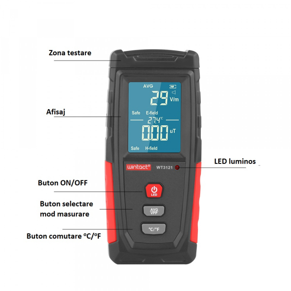 Detector radiatii electromagnetice Optimus AT 3121 unde electrice si magnetice, termometru, gri rosu [4]
