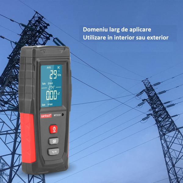 Detector radiatii electromagnetice Optimus AT 3121 unde electrice si magnetice, termometru, gri rosu [3]