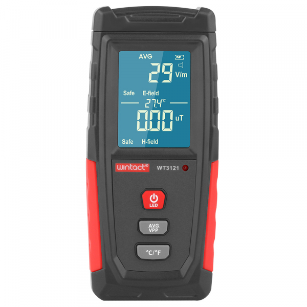 Detector radiatii electromagnetice Optimus AT 3121 unde electrice si magnetice, termometru, gri rosu [0]