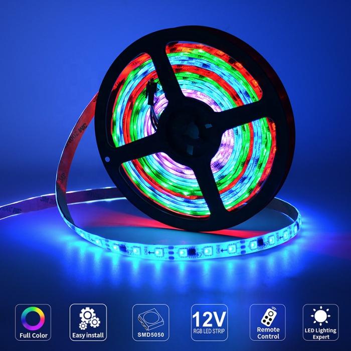 Banda LED RGB 60LED/m cu telecomanda si adaptor, 5m, multicolora [1]