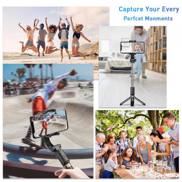 Stabilizator gimbal pe 2 axe cu telecomanda, brat extensibil si trepied, selfie stick negru [1]