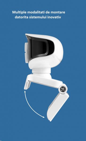 Camera WEB cu microfon Optimus AT A209i, rezolutie full-HD, 2mpx, rotire 360, prinderi multiple, negru/alb [3]
