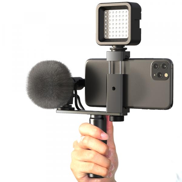 Maner Grip profesional din aluminiu cu suport telefon, pentru vlogging, cu prindere 1/4, negru [1]