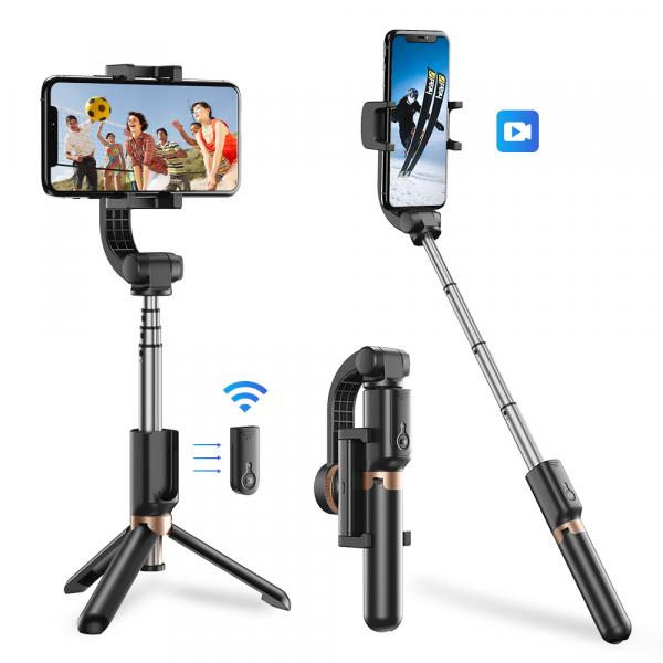 Stabilizator gimbal pe 2 axe cu telecomanda, brat extensibil si trepied, selfie stick negru [0]