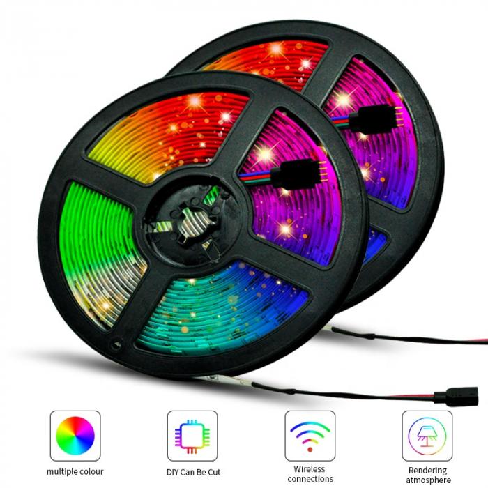 Banda LED RGB 60LED/m cu telecomanda si adaptor, 5m, multicolora [2]