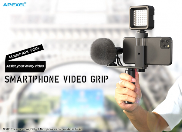Maner Grip profesional din aluminiu cu suport telefon, pentru vlogging, cu prindere 1/4, negru [2]