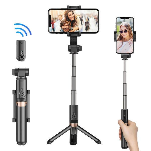 Stabilizator gimbal pe 2 axe cu telecomanda, brat extensibil si trepied, selfie stick negru [4]