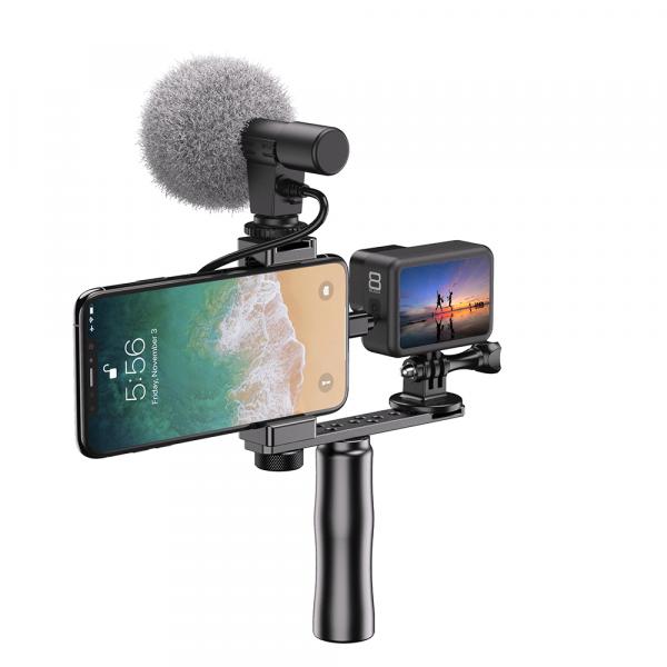 Maner Grip profesional din aluminiu cu suport telefon, pentru vlogging, cu prindere 1/4, negru [5]