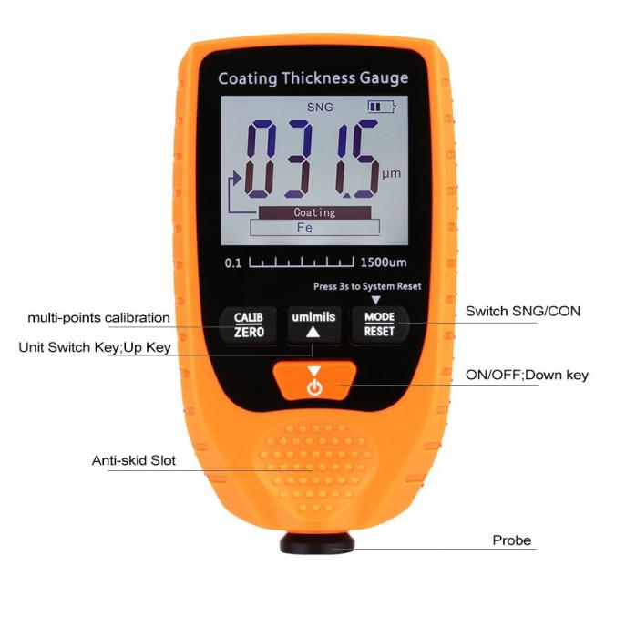 Tester profesional strat de vopsea - interval 0-1500 µm, precizie 3%+2µm, Optimus AT 998 [5]