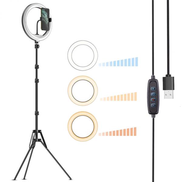 Kit starter vlogging premium - suport telefon + lampa circulara fotografica inaltime 2,1 metri [0]