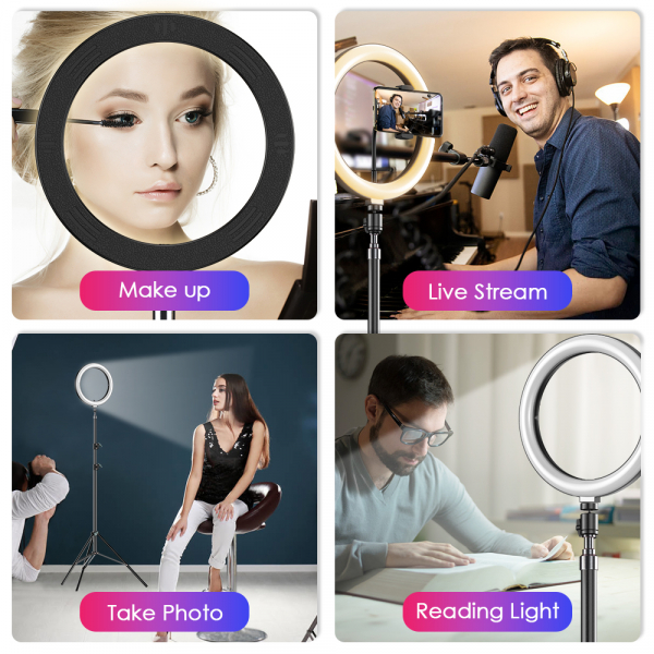 Kit starter vlogging premium pentru birou - suport telefon + lampa circulara fotografica, JJ13Y [1]