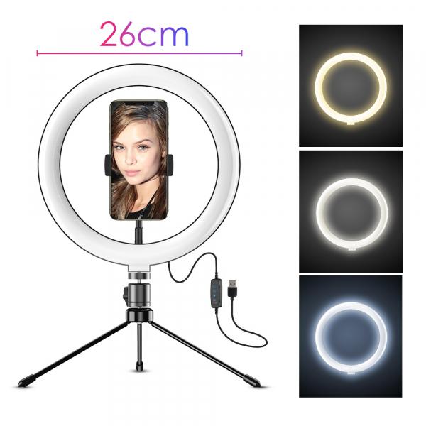 Kit starter vlogging premium pentru birou - suport telefon + lampa circulara fotografica, JJ13Y [2]
