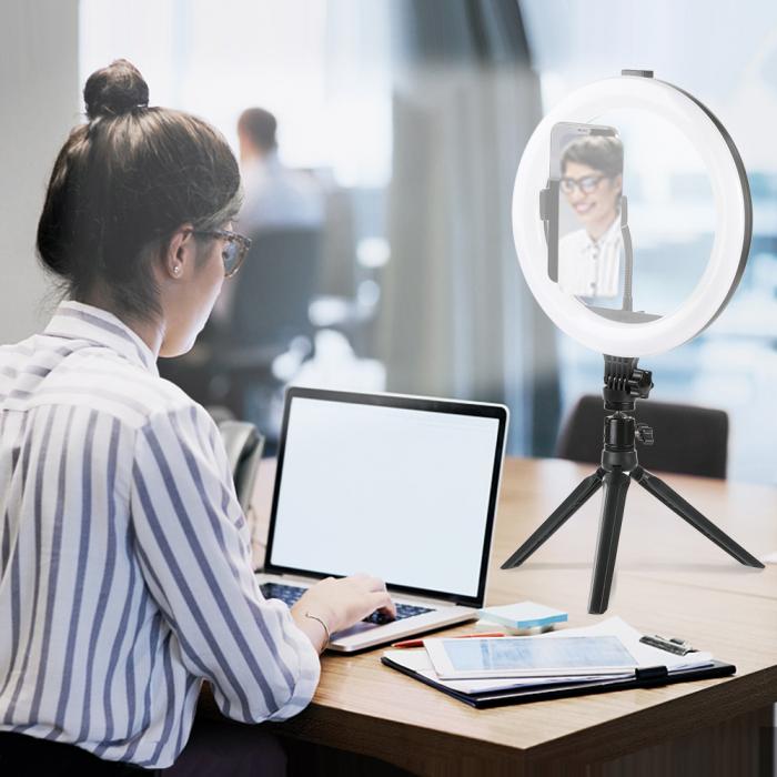 Selfie ring de birou, cu lampa de 10 inch, trepied 19 cm [3]
