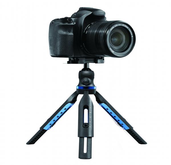 Trepied profesional aluminiu/abs, cu boloboc, rotire 360, suport telefon si prindere surub 1/4, negru/albastru [2]