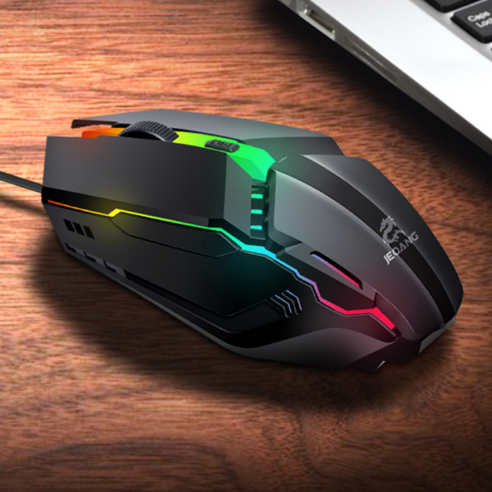 Mouse Gaming  JM-530, 2 butoane, RGB , DPI ajustabil pana la 800/1200/1600 - negru [1]