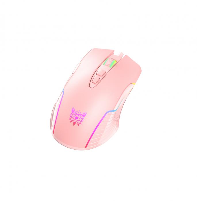 Mouse Gaming Onikuma CW905, RGB, 6400 DPI - roz [1]
