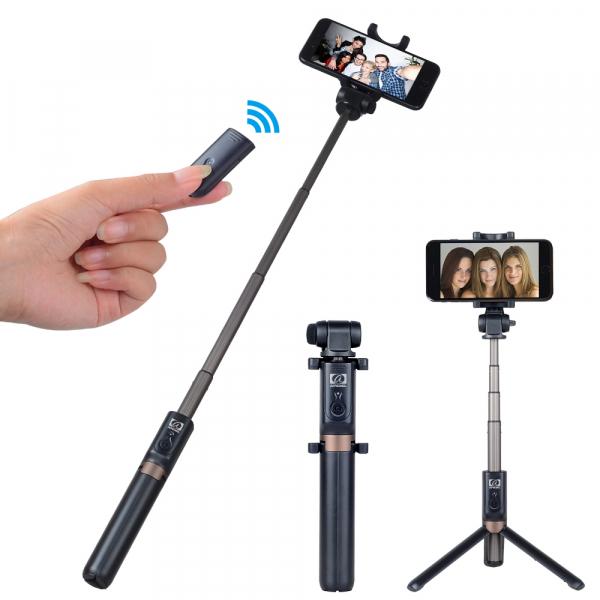 Selfie stick premium cu brat extensibil, telecomanda si trepied, negru, D3 [0]